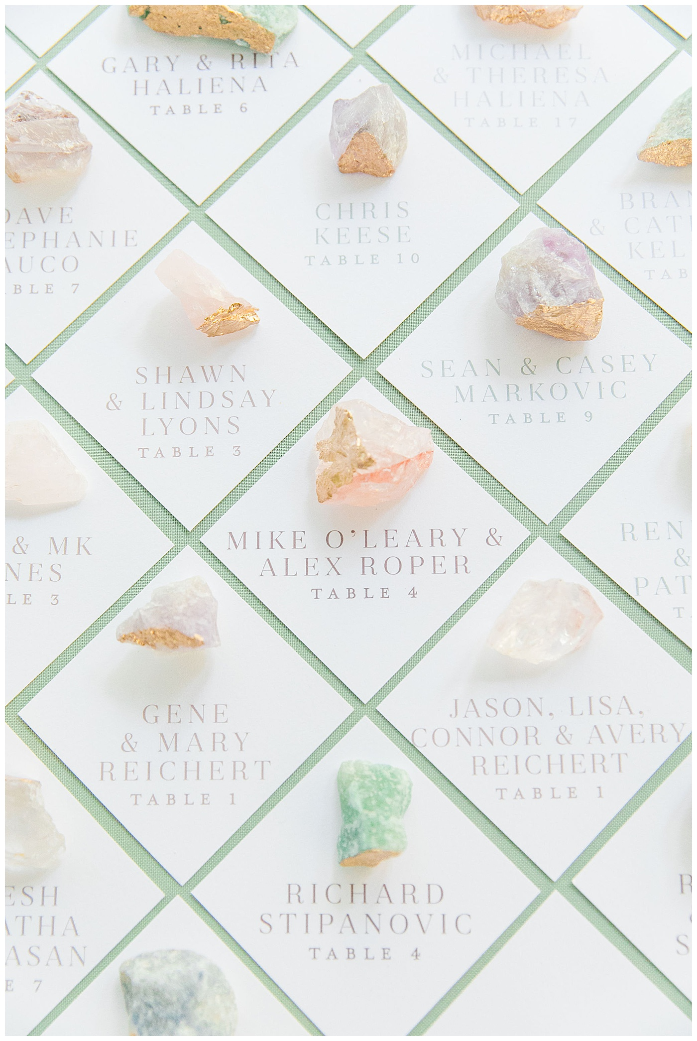 geode escort cards | crystal escort cards