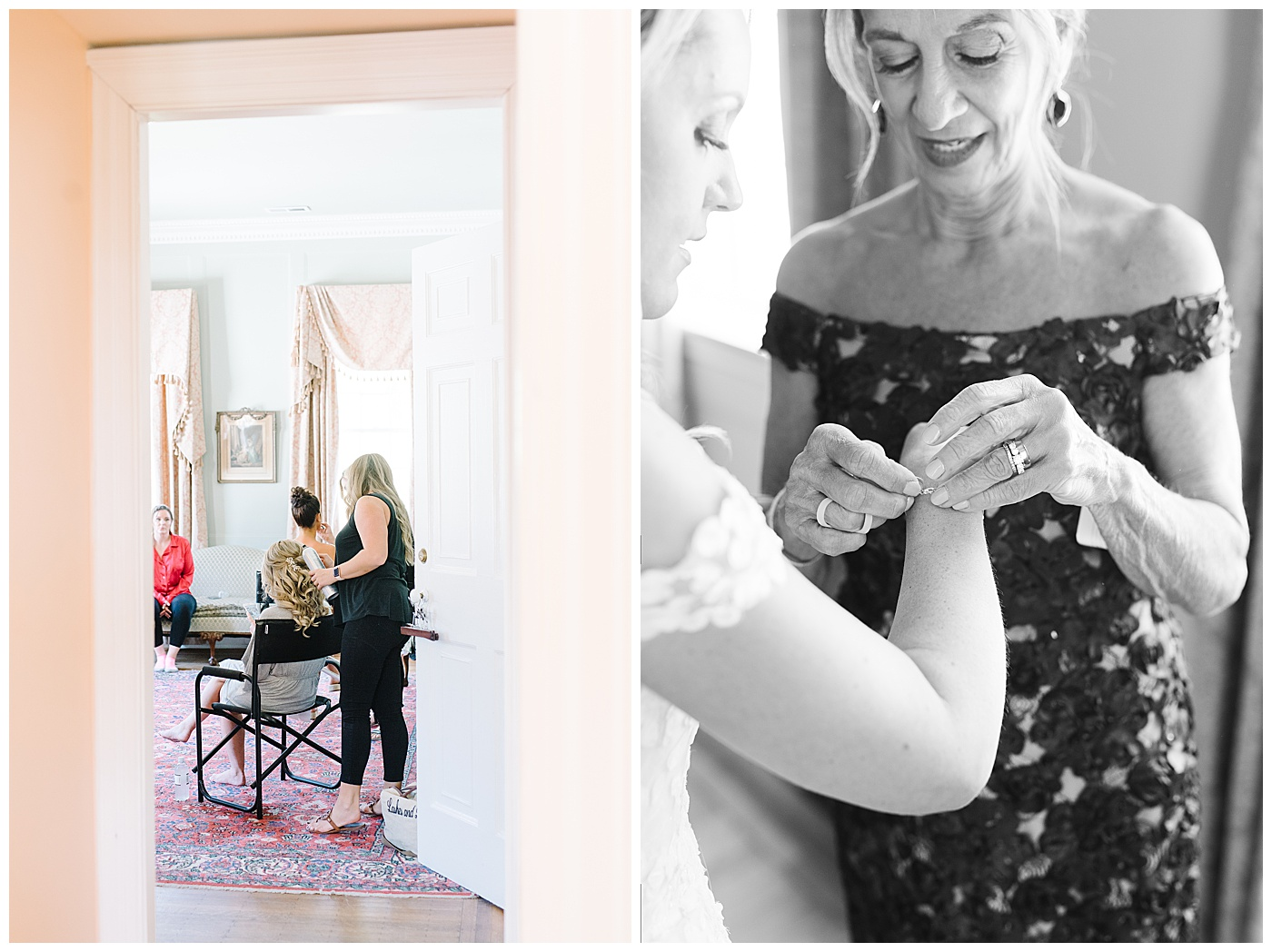 bride getting ready for charleston wedding at lowndes grove