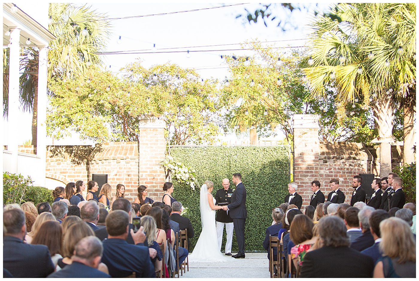 wedding ceremony at the gadsden house in charleston