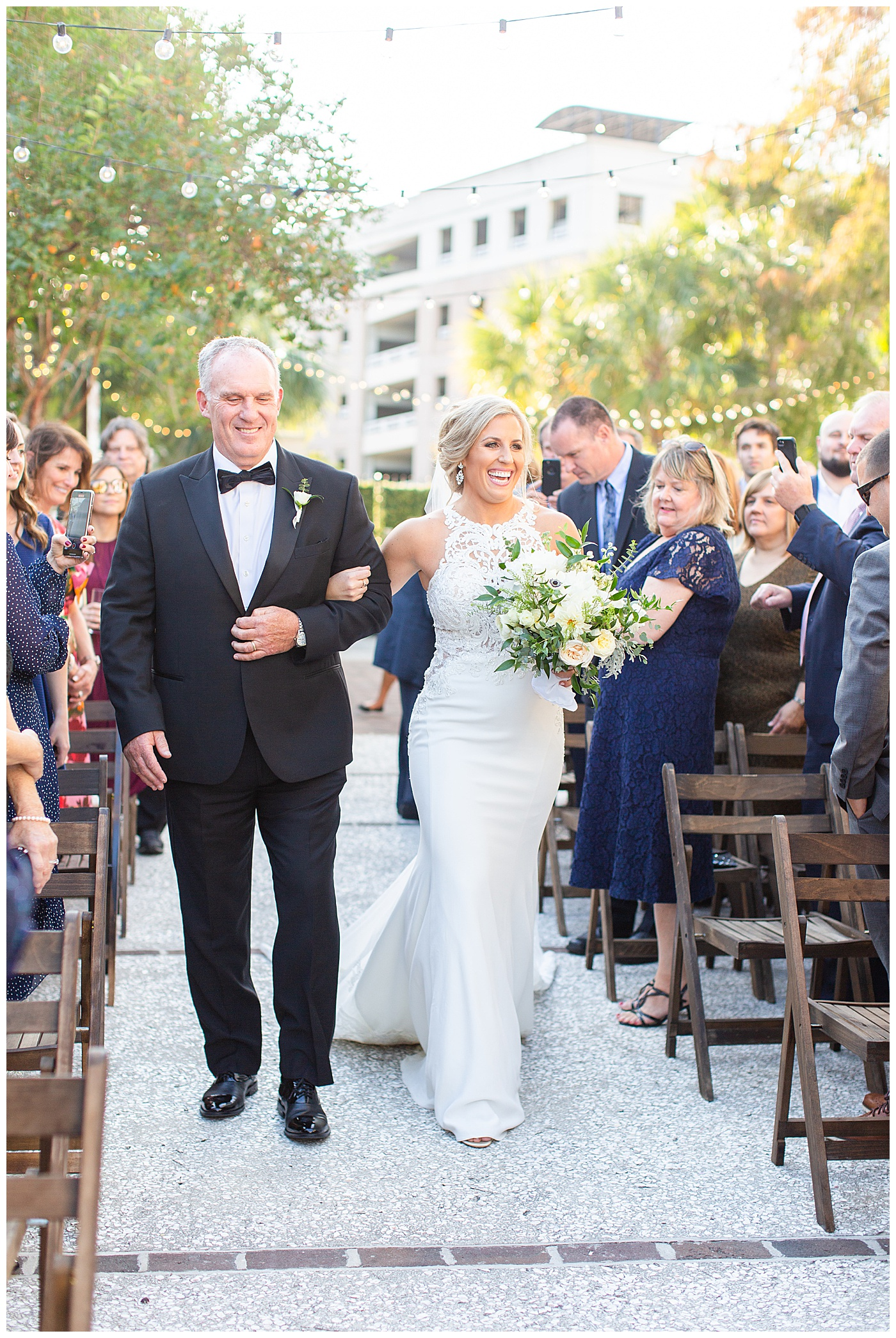 father walking daughter down the aisle at the gadsden house in charleston