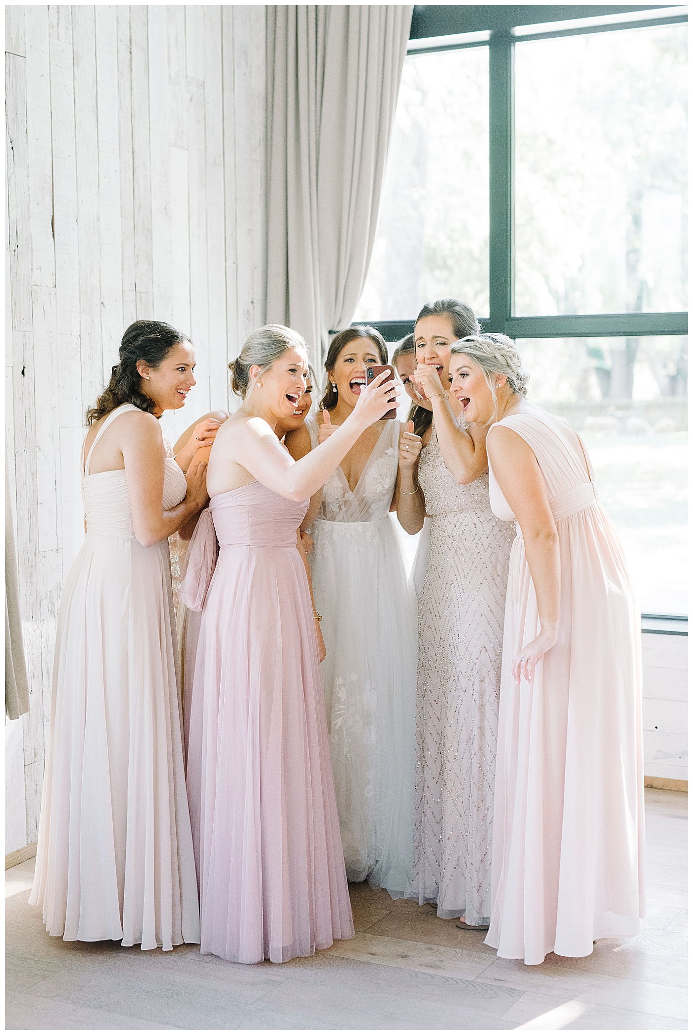 bridesmaids facetiming friend