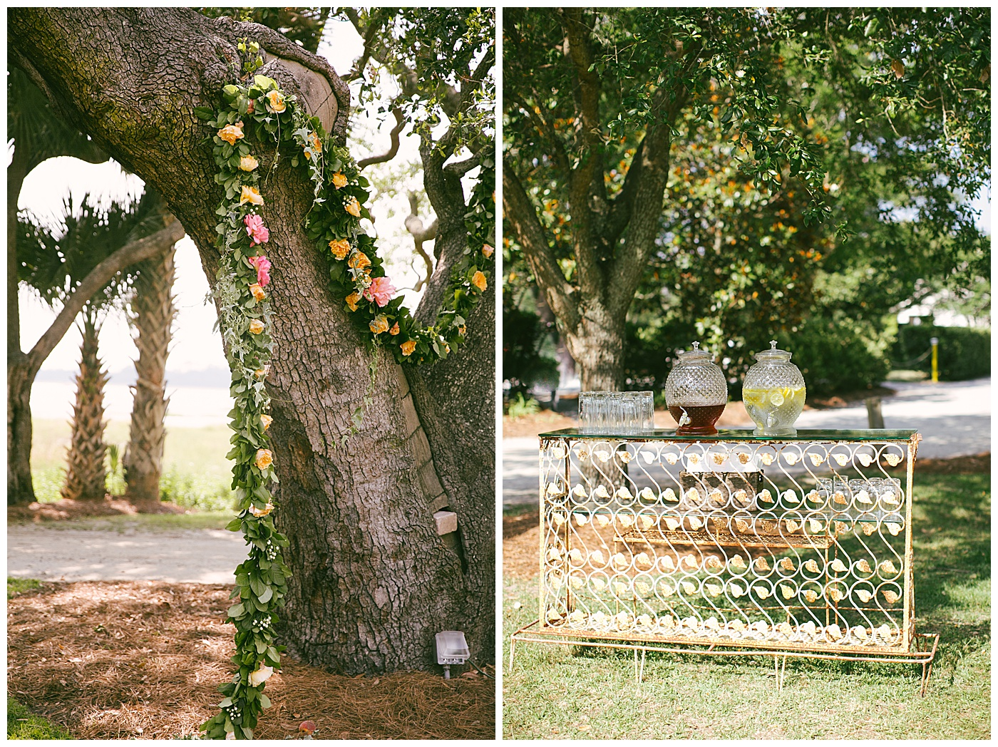 southern wedding decor in lowndes grove