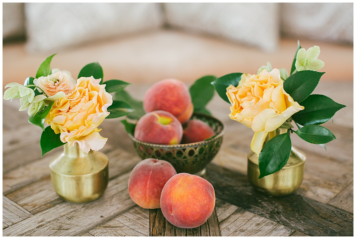 peach wedding decor