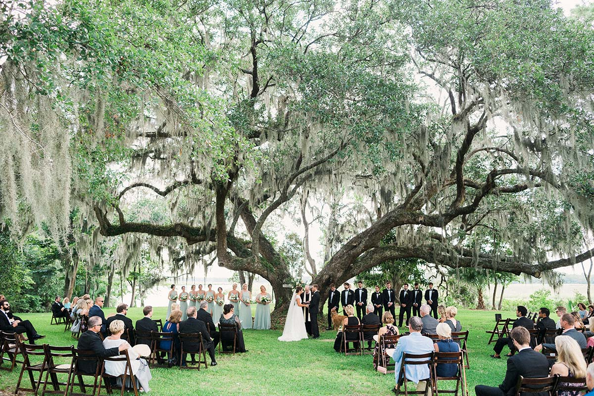 wedding under moss-laden oak at Runnymede Plantation