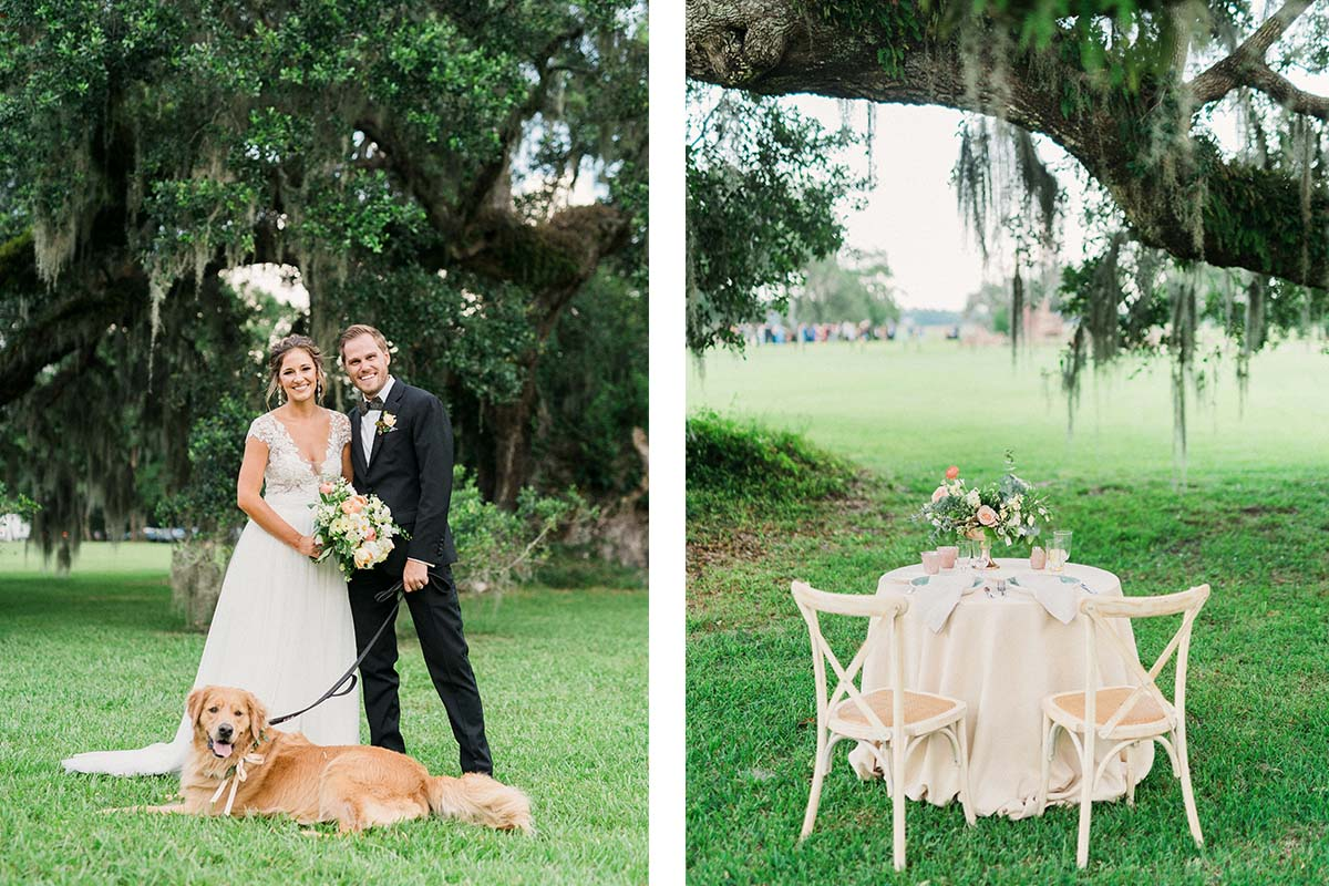 couple with golden lab and private dinner table