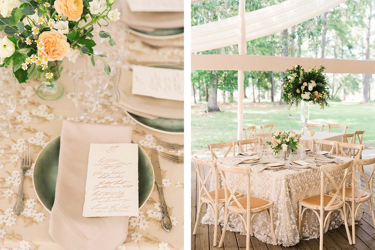 dinner place setting with green plates and embroidered tablecloth in cream