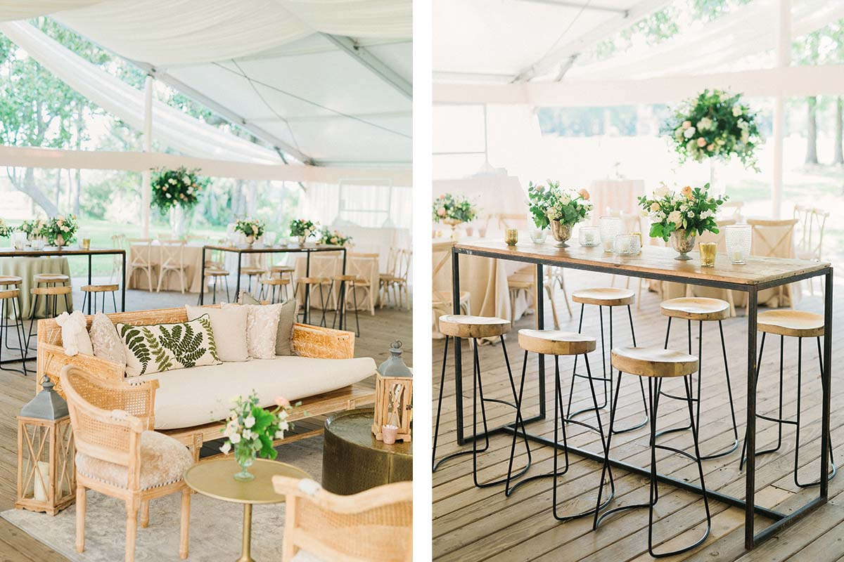 lounge and tall table seating a reception at Runnymede Plantation