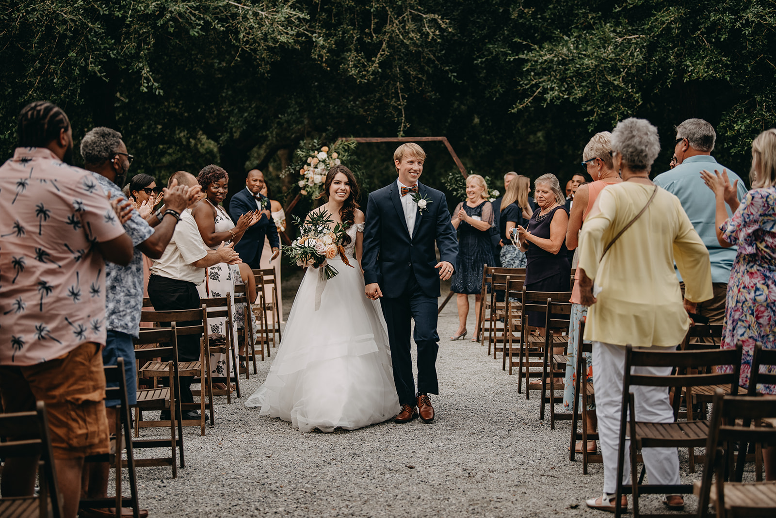 ceremony at Old Wide Awake Plantation walking down the aisle